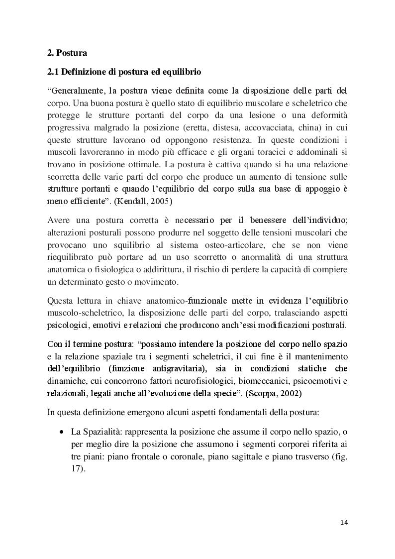 Estratto dalla tesi: L'analisi posturale e la pedana stabilometrica-propriocettiva