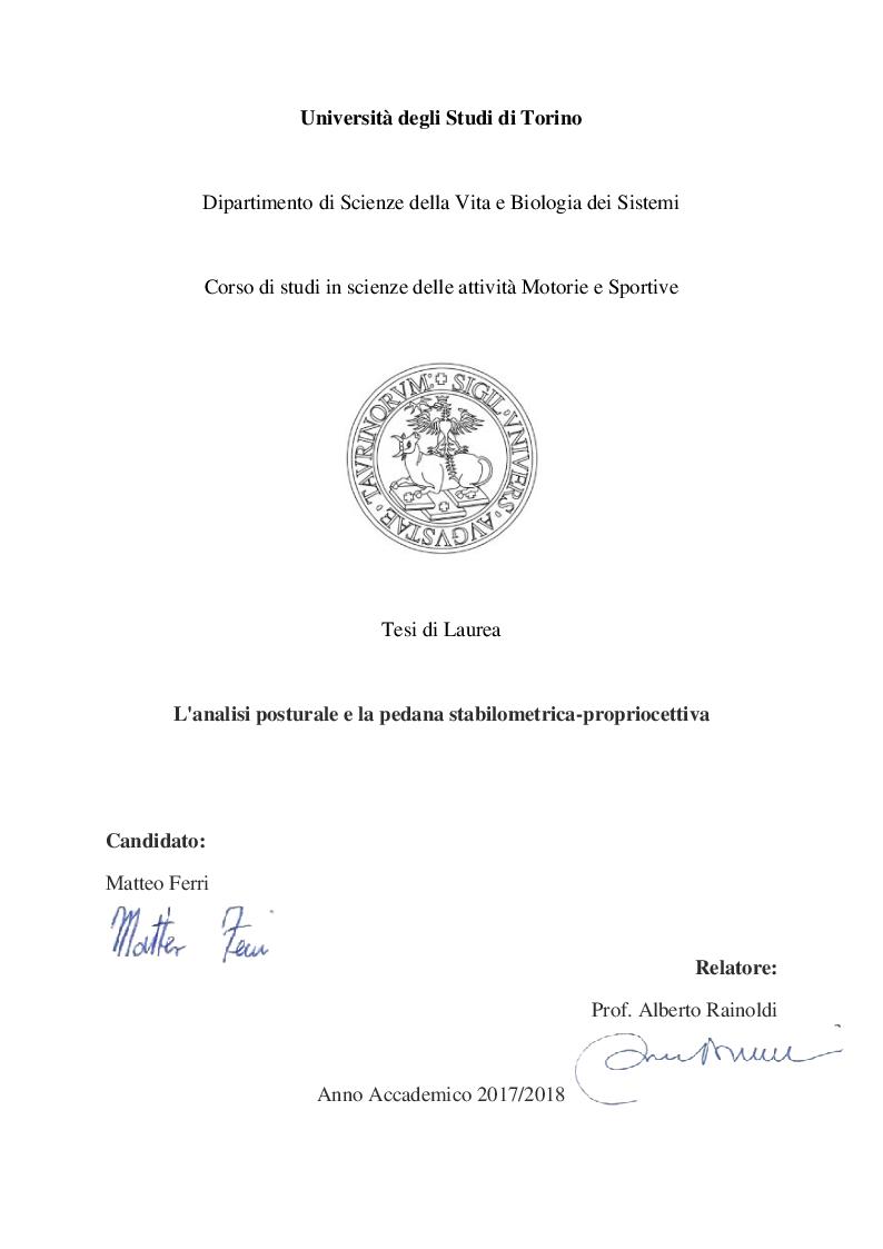 Anteprima della tesi: L'analisi posturale e la pedana stabilometrica-propriocettiva, Pagina 1
