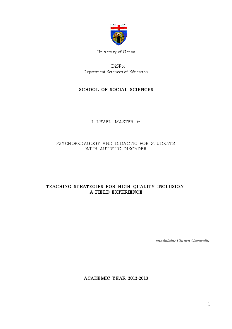 Anteprima della tesi: Teaching Strategies for High Quality Inclusion: a Field Experience, Pagina 1