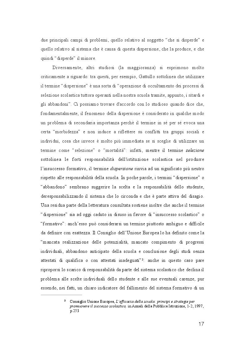 Estratto dalla tesi: La dispersione Scolastica nei quartieri più critici di Napoli e Palermo: quando l'istruzione può rappresentare la cura al suo stesso malessere
