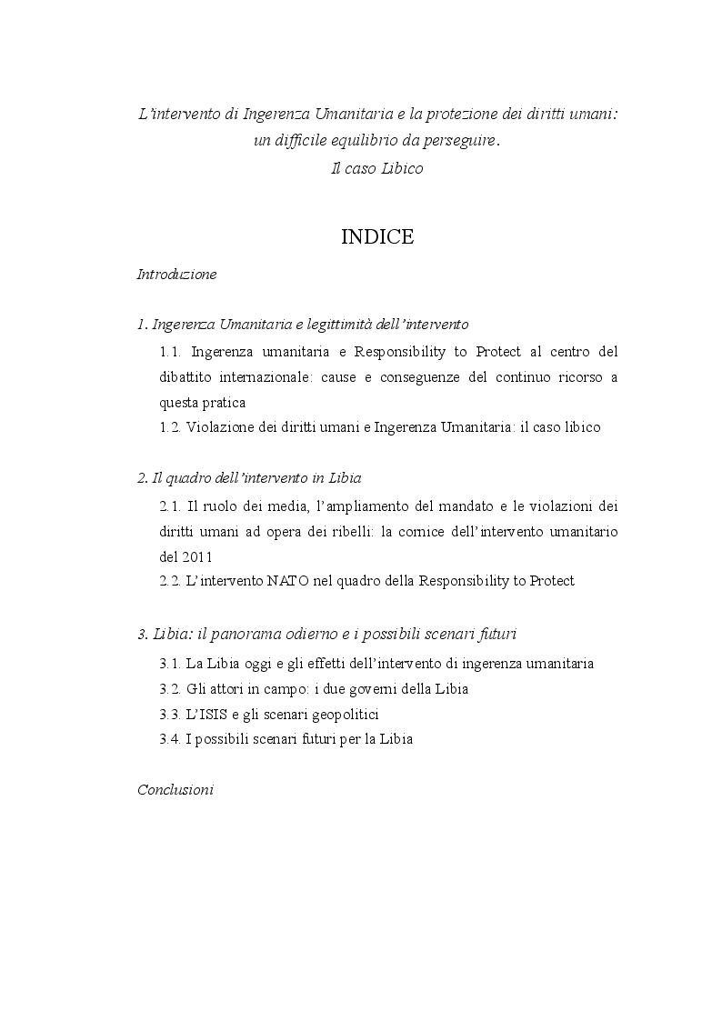 Indice della tesi: Diritto internazionale e geopolitica: teoria e prassi dell'ingerenza umanitaria, Pagina 1
