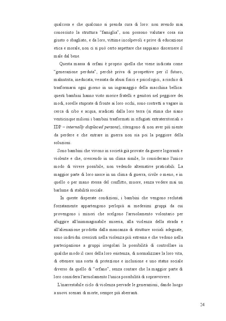 """Anteprima della tesi: Bambini Soldato: L'infanzia violata. Fenomenologia del problema globale dei """"Child Soldiers"""", Pagina 5"""