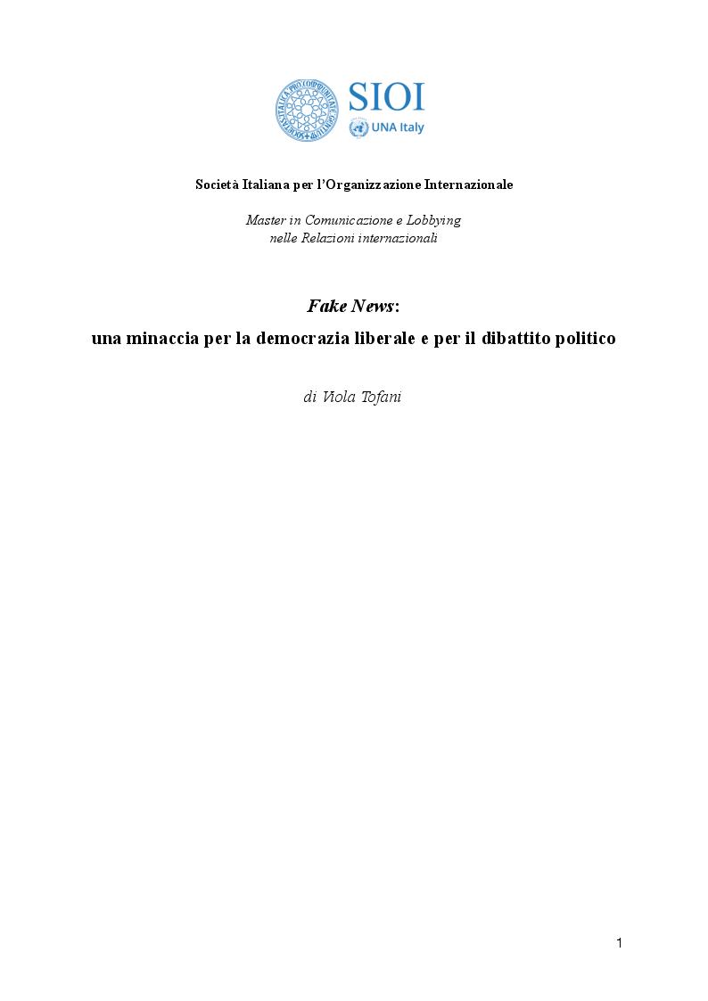 Anteprima della tesi: Fake News: una minaccia per la democrazia liberale e per il dibattito politico, Pagina 1