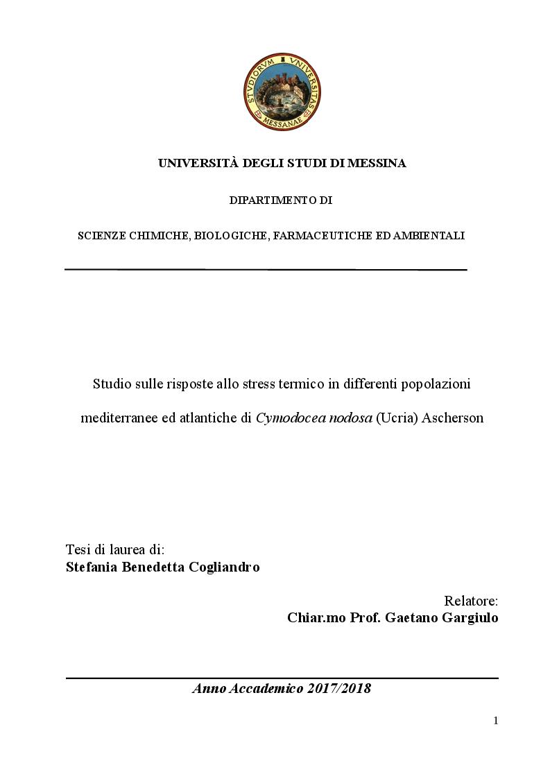 Anteprima della tesi: Studio sulle risposte allo stress termico in differenti popolazioni mediterranee ed atlantiche di Cymodocea nodosa (Ucria) Ascherson, Pagina 1