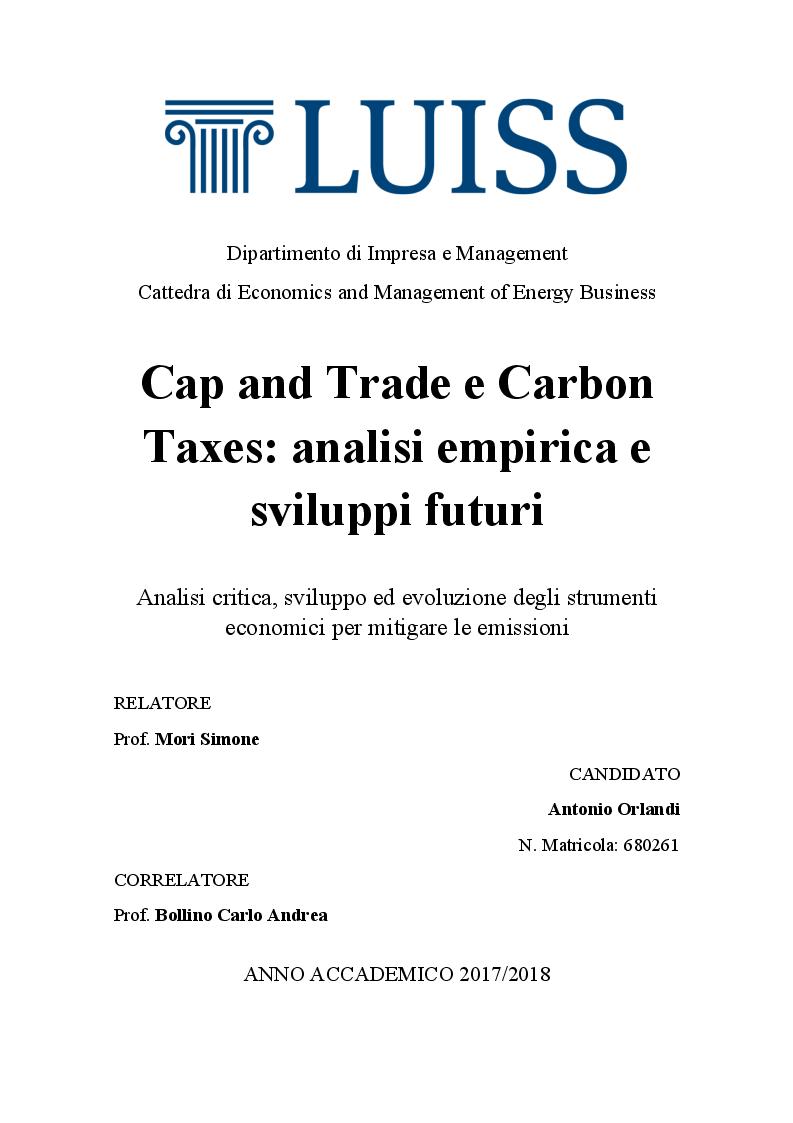 Anteprima della tesi: Cap and Trade e Carbon Taxes: analisi empirica e sviluppi futuri, Pagina 1
