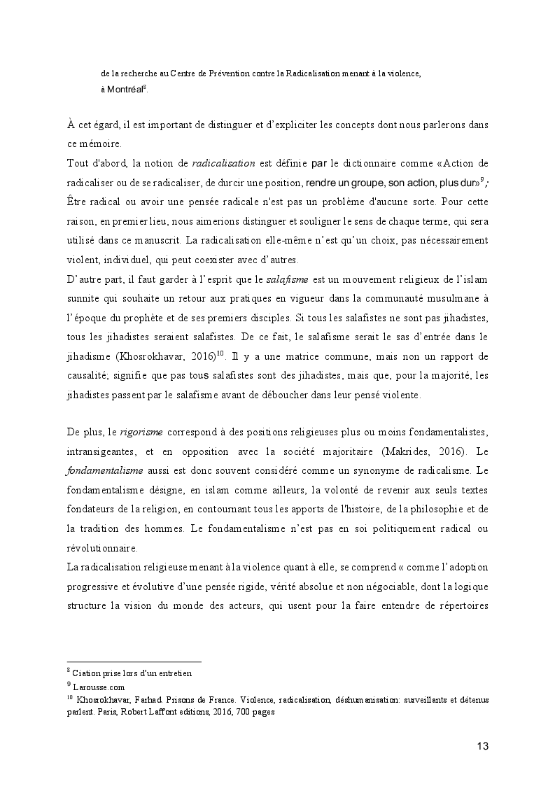Estratto dalla tesi: Le processus de radicalisation: prise de conscience