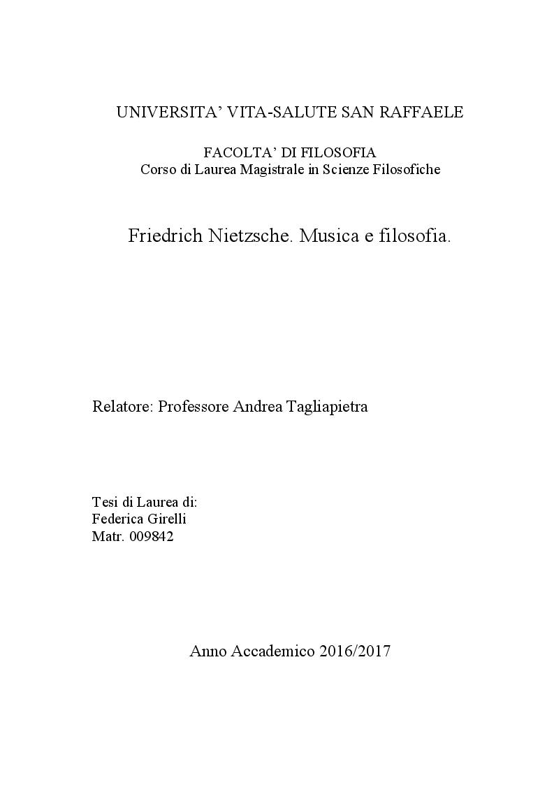 Anteprima della tesi: Friedrich Nietzsche. Musica e filosofia., Pagina 1