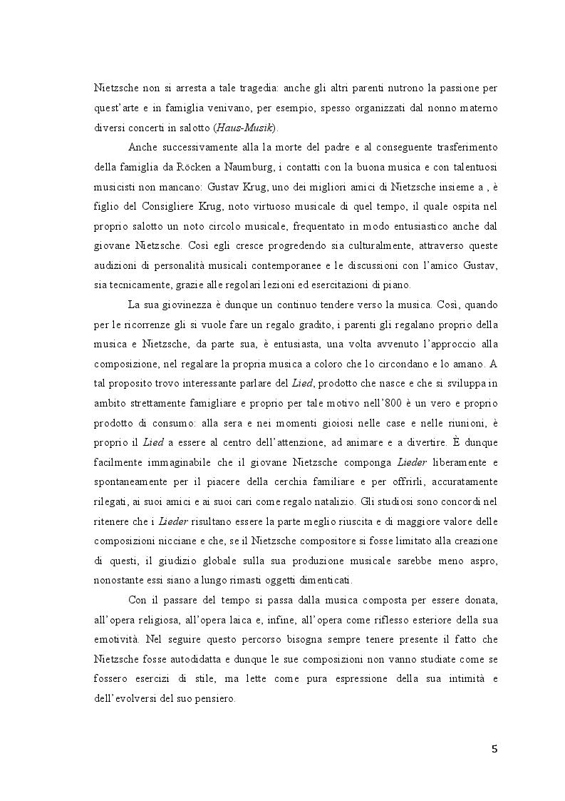 Anteprima della tesi: Friedrich Nietzsche. Musica e filosofia., Pagina 5
