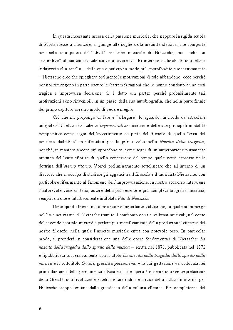 Anteprima della tesi: Friedrich Nietzsche. Musica e filosofia., Pagina 6