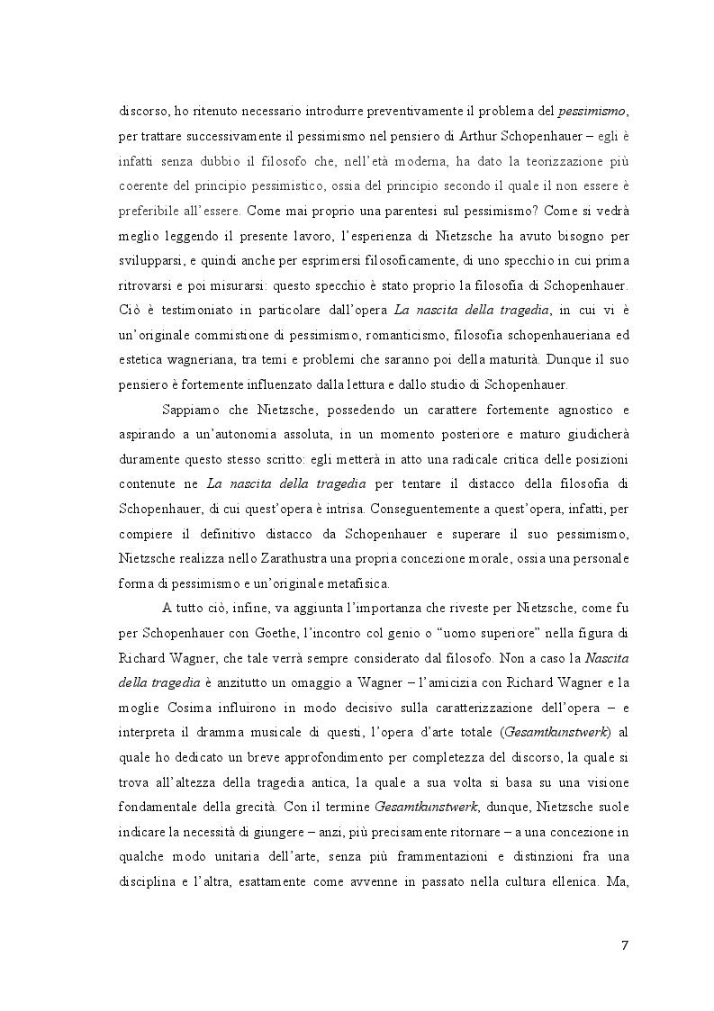 Anteprima della tesi: Friedrich Nietzsche. Musica e filosofia., Pagina 7