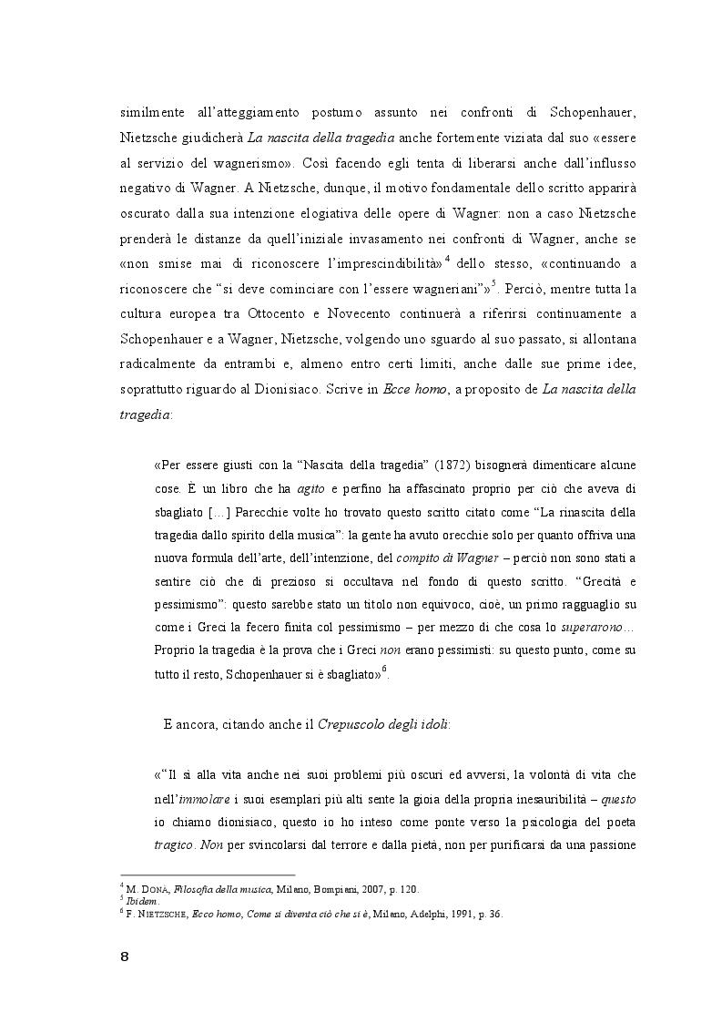 Anteprima della tesi: Friedrich Nietzsche. Musica e filosofia., Pagina 8