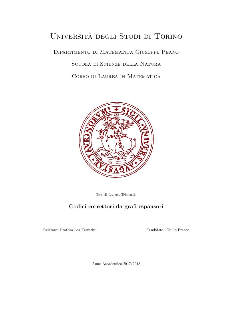 Anteprima della tesi: Codici Correttori da Grafi Espansori, Pagina 1