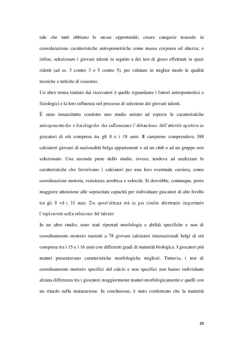 Anteprima della tesi: Fattori limitanti l'emersione del talento nel calcio giovanile italiano, Pagina 5