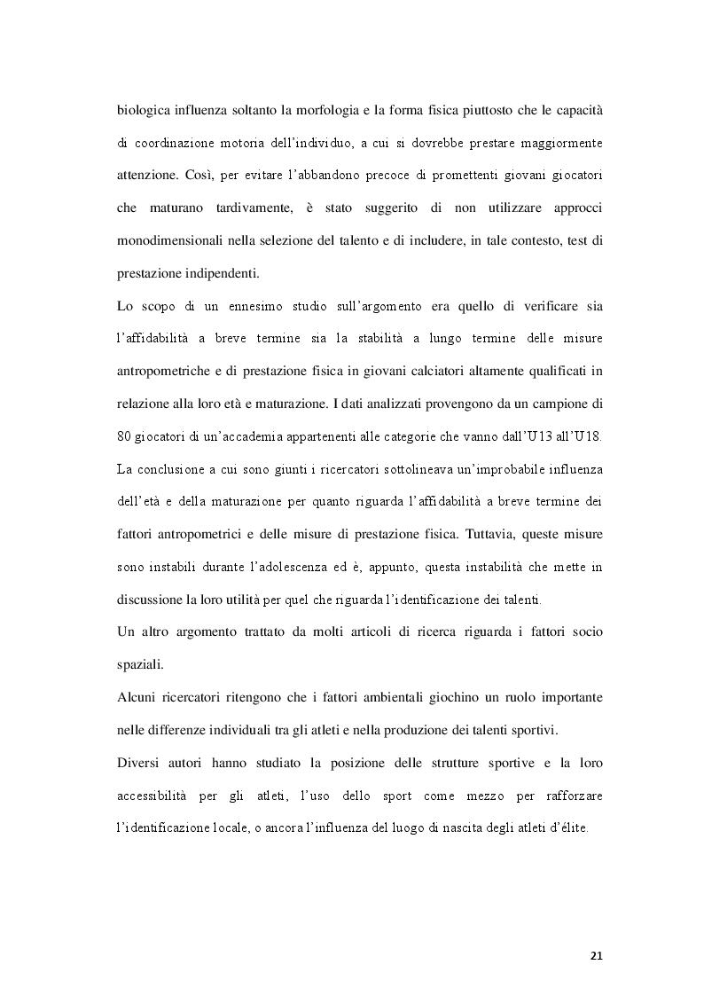 Anteprima della tesi: Fattori limitanti l'emersione del talento nel calcio giovanile italiano, Pagina 6