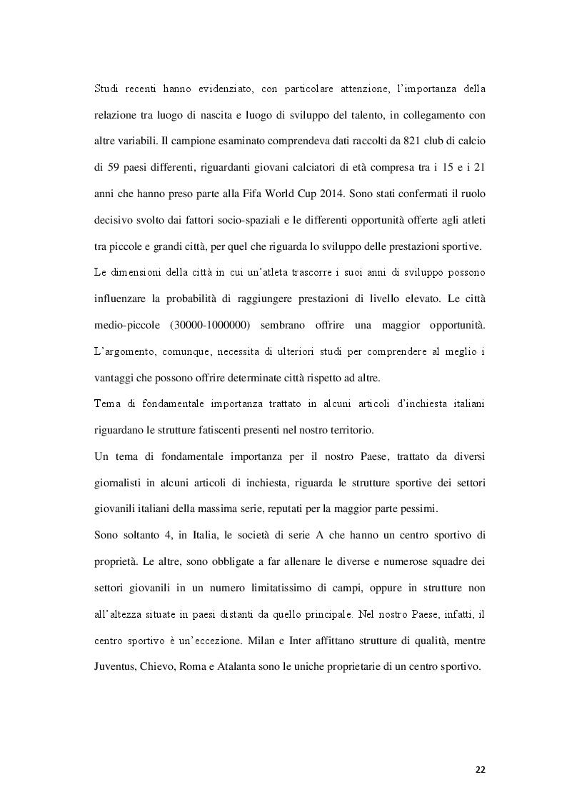 Anteprima della tesi: Fattori limitanti l'emersione del talento nel calcio giovanile italiano, Pagina 7