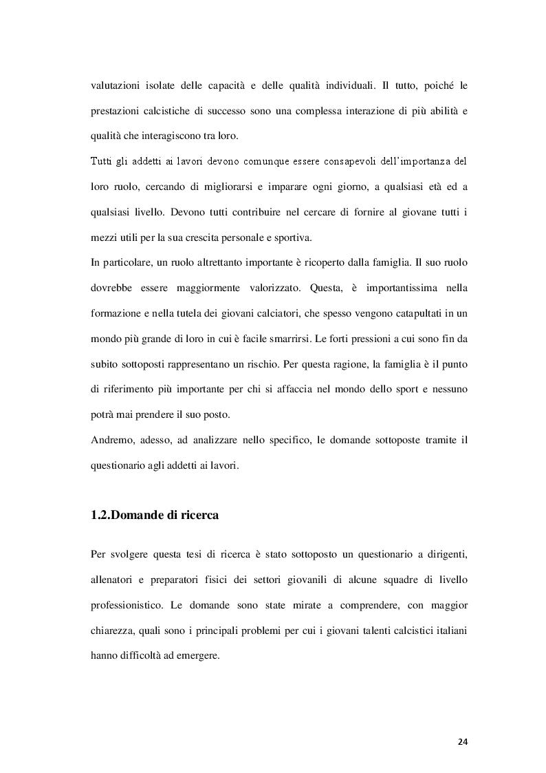 Anteprima della tesi: Fattori limitanti l'emersione del talento nel calcio giovanile italiano, Pagina 9