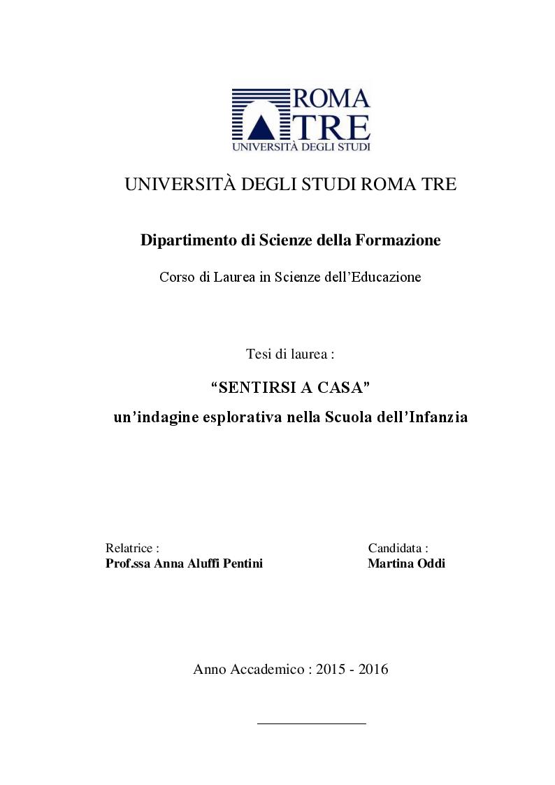Anteprima della tesi: Sentirsi a casa - un'indagine esplorativa nella Scuola dell'Infanzia ''Il melograno'', Pagina 1