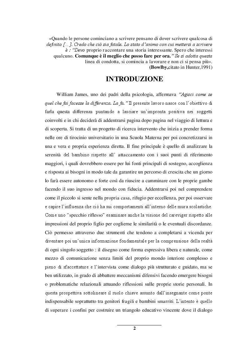 Anteprima della tesi: Sentirsi a casa - un'indagine esplorativa nella Scuola dell'Infanzia ''Il melograno'', Pagina 2