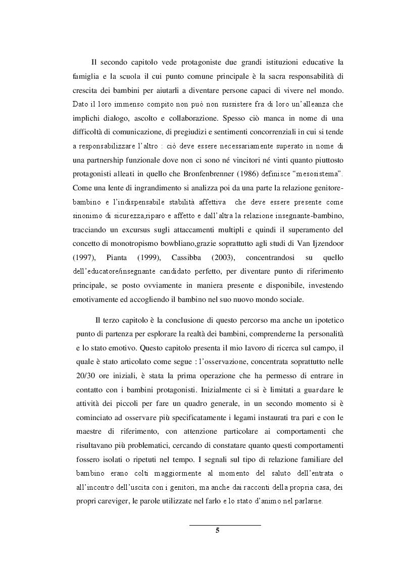 Anteprima della tesi: Sentirsi a casa - un'indagine esplorativa nella Scuola dell'Infanzia ''Il melograno'', Pagina 5