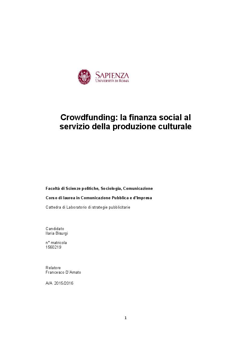 Anteprima della tesi: Crowdfunding. La finanza social al servizio della produzione culturale, Pagina 1
