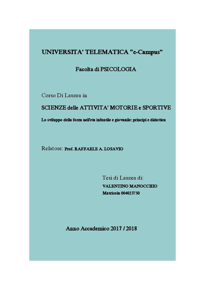 Anteprima della tesi: Lo sviluppo della forza nell'età infantile e giovanile: principi e didattica, Pagina 1