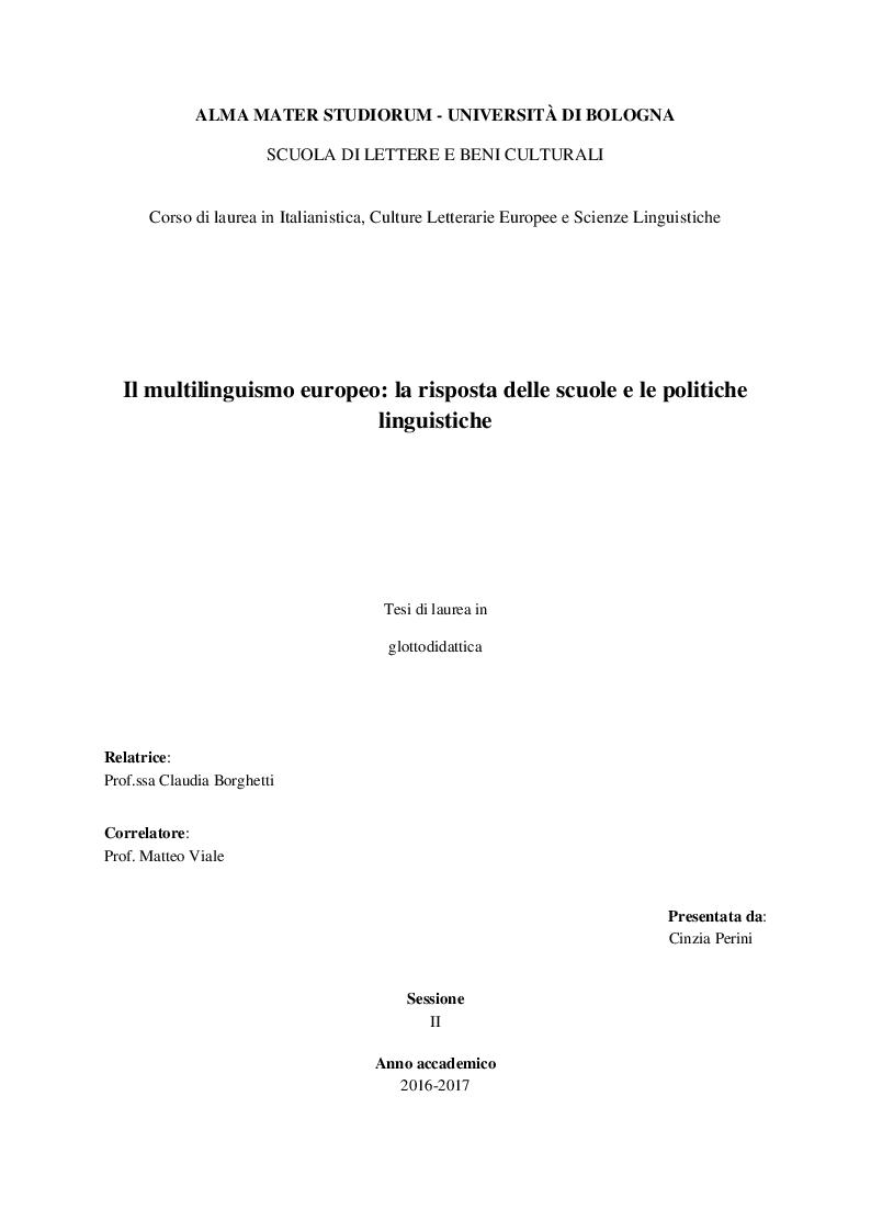 Anteprima della tesi: Il multilinguismo europeo: la risposta delle scuole e le politiche linguistiche, Pagina 1