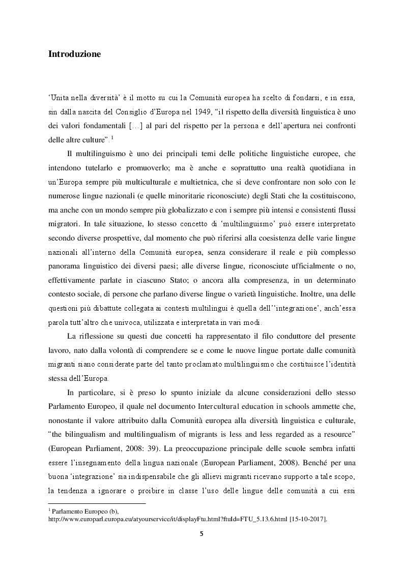 Anteprima della tesi: Il multilinguismo europeo: la risposta delle scuole e le politiche linguistiche, Pagina 2