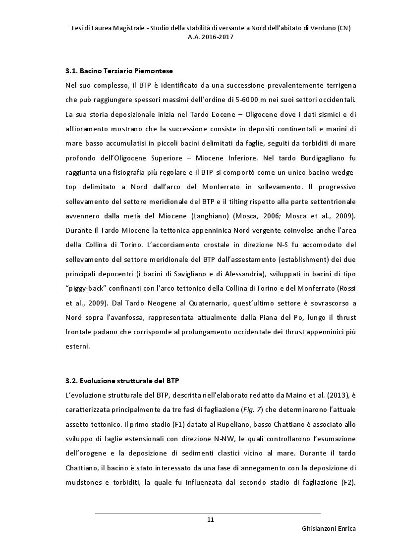 Estratto dalla tesi: Studio della stabilità di versante a Nord dell'abitato di Verduno (CN)