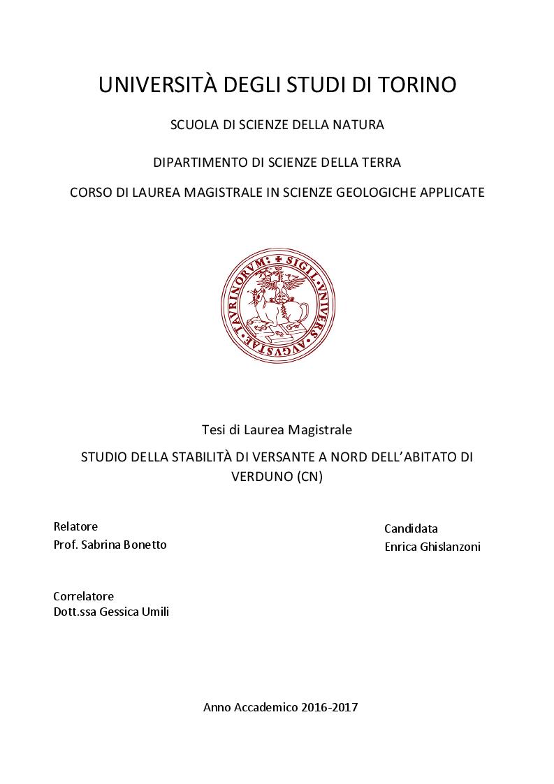 Anteprima della tesi: Studio della stabilità di versante a Nord dell'abitato di Verduno (CN), Pagina 1