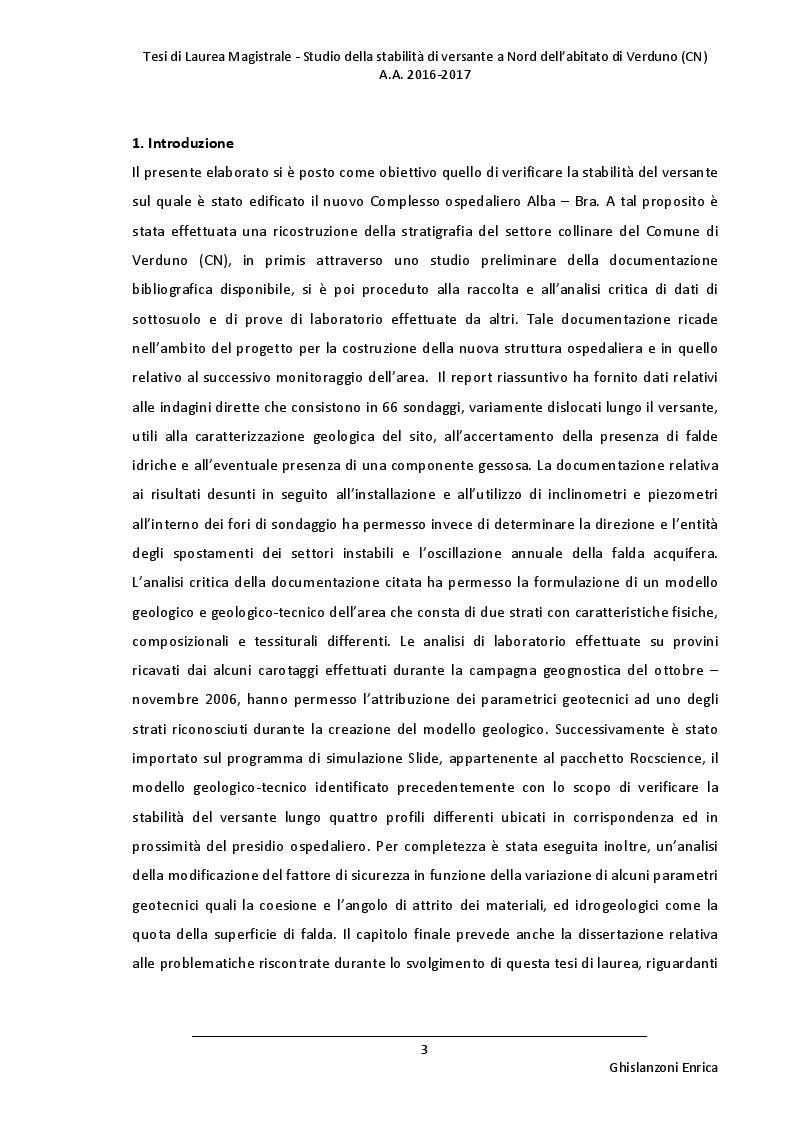 Anteprima della tesi: Studio della stabilità di versante a Nord dell'abitato di Verduno (CN), Pagina 2
