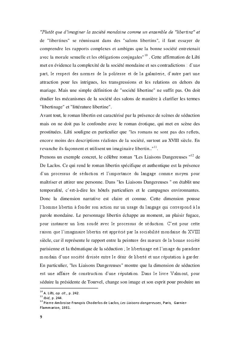 Estratto dalla tesi: Le Royaume de la politesse: l'identité des femmes à la période des Lumières et de la culture salonnière