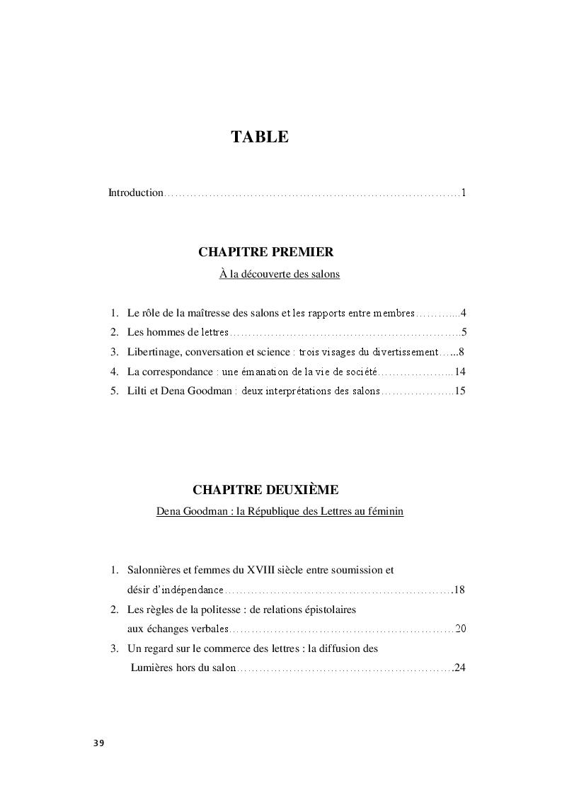 Indice della tesi: Le Royaume de la politesse: l'identité des femmes à la période des Lumières et de la culture salonnière, Pagina 1