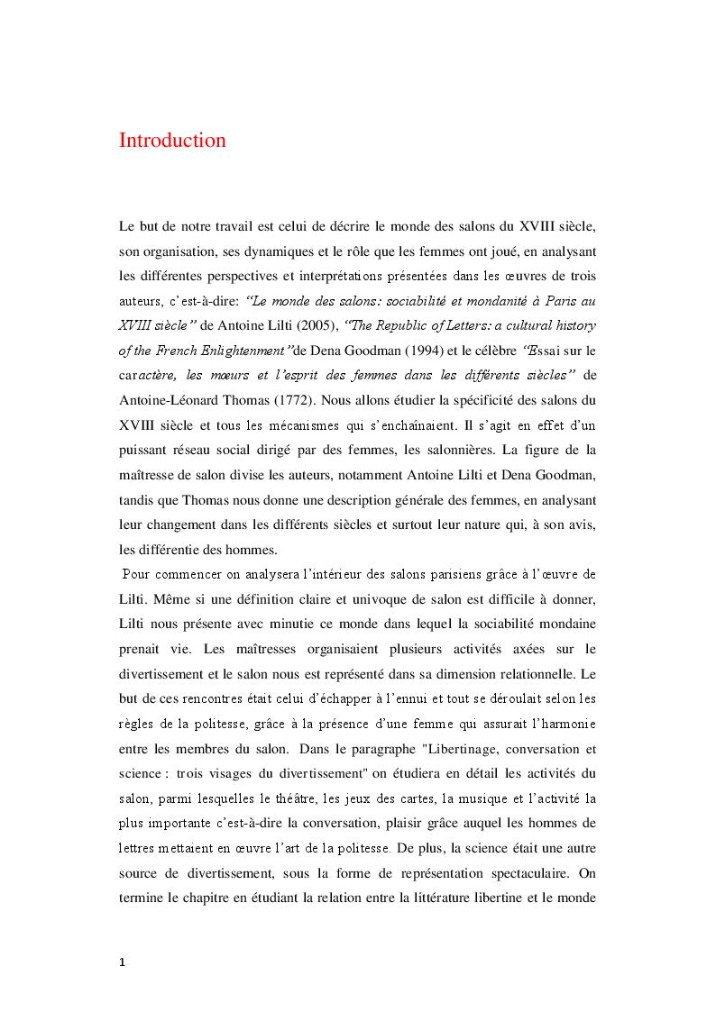 Anteprima della tesi: Le Royaume de la politesse: l'identité des femmes à la période des Lumières et de la culture salonnière, Pagina 2
