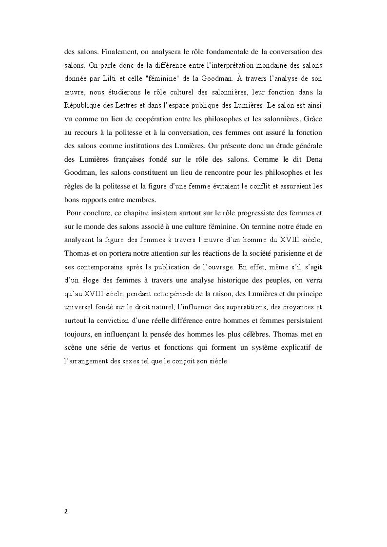 Anteprima della tesi: Le Royaume de la politesse: l'identité des femmes à la période des Lumières et de la culture salonnière, Pagina 3