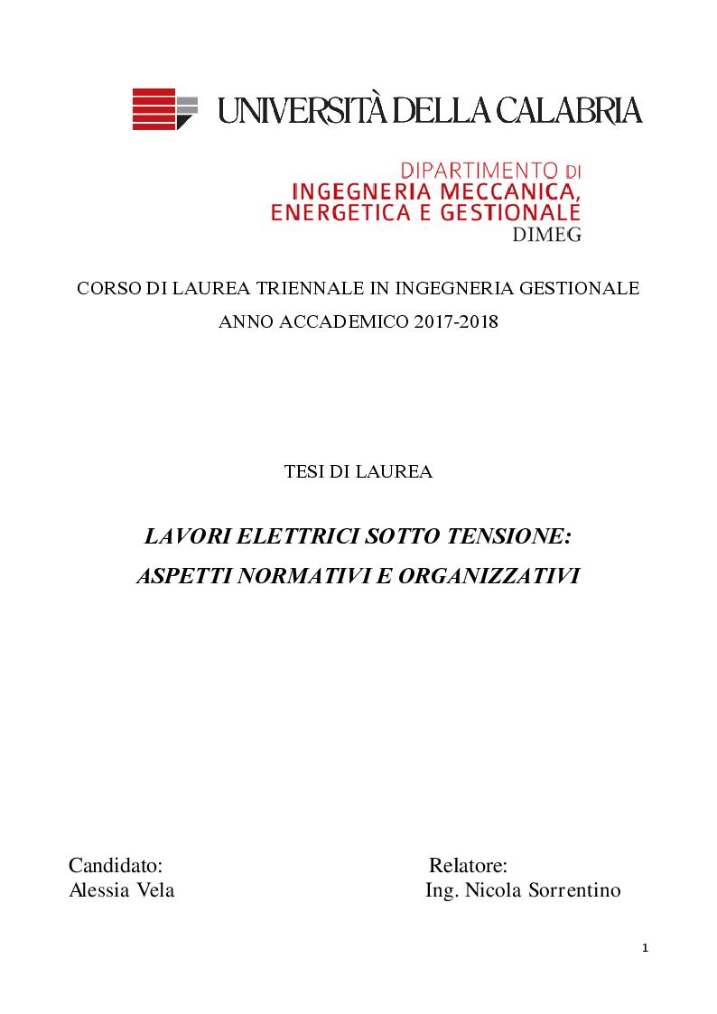 Anteprima della tesi: Lavori elettrici sotto tensione: aspetti normativi e organizzativi, Pagina 1