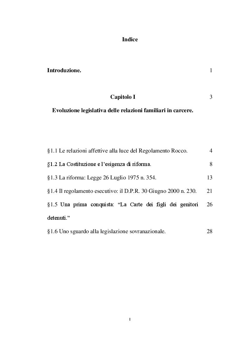 Indice della tesi: L'affettività alla prova del carcere: disciplina vigente e prospettive di riforma, Pagina 1
