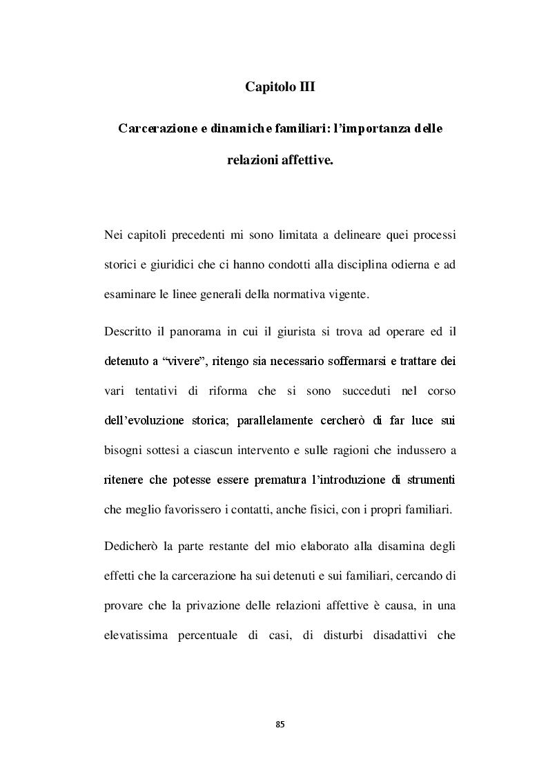 Anteprima della tesi: L'affettività alla prova del carcere: disciplina vigente e prospettive di riforma, Pagina 2