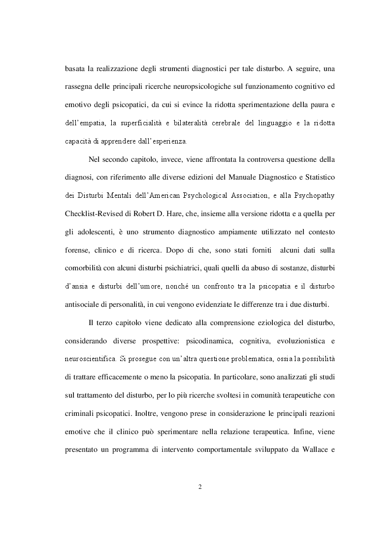Anteprima della tesi: La personalità psicopatica: caratteristiche cliniche, diagnosi, modelli esplicativi e trattamento, Pagina 3
