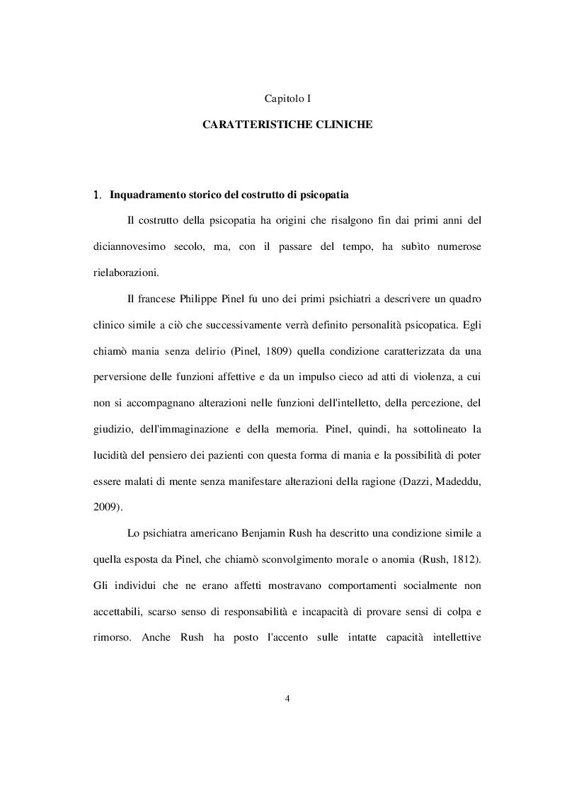 Anteprima della tesi: La personalità psicopatica: caratteristiche cliniche, diagnosi, modelli esplicativi e trattamento, Pagina 5