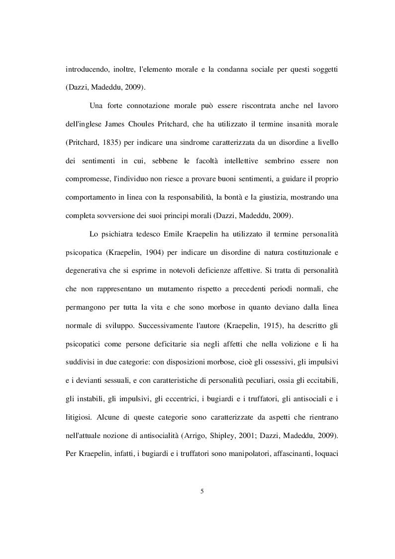 Anteprima della tesi: La personalità psicopatica: caratteristiche cliniche, diagnosi, modelli esplicativi e trattamento, Pagina 6