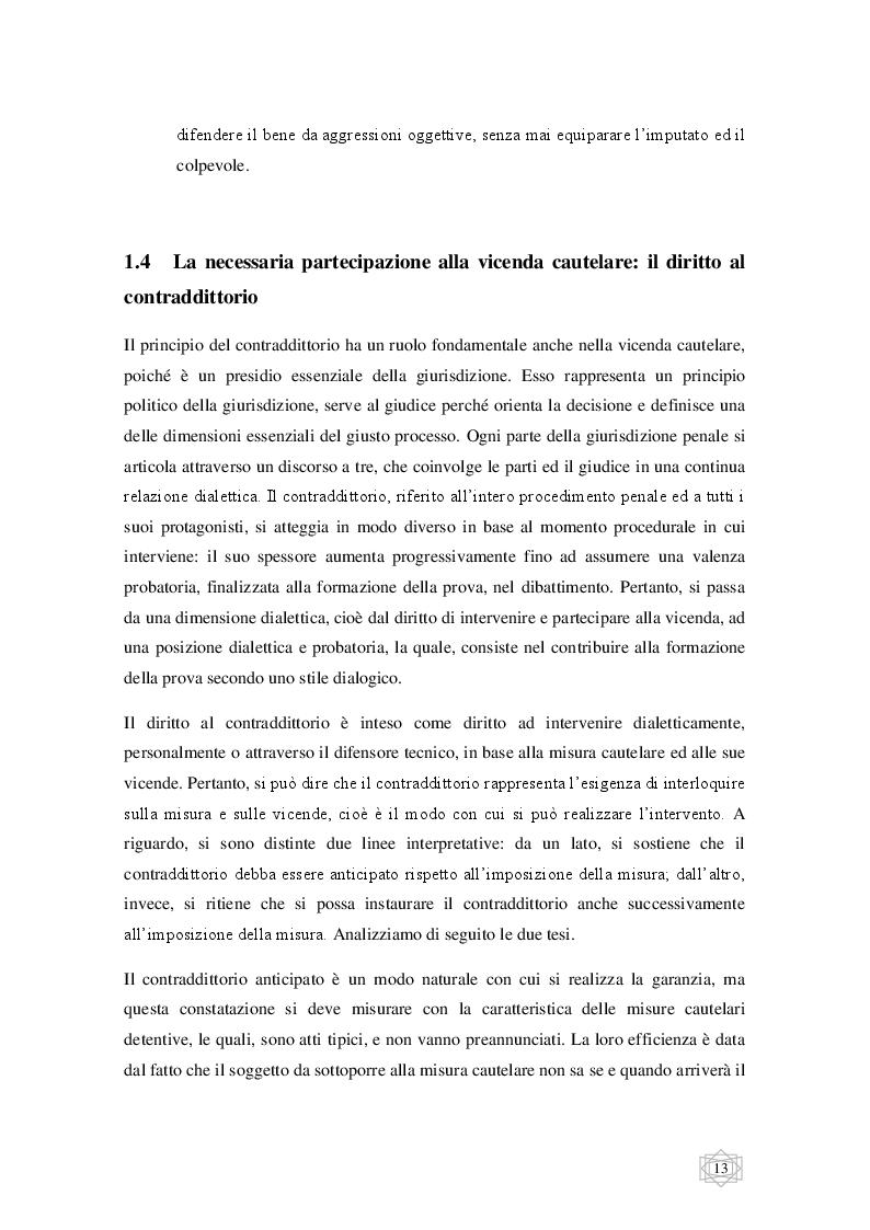Estratto dalla tesi: Le misure cautelari tra principi costituzionali ed esigenze di difesa sociale