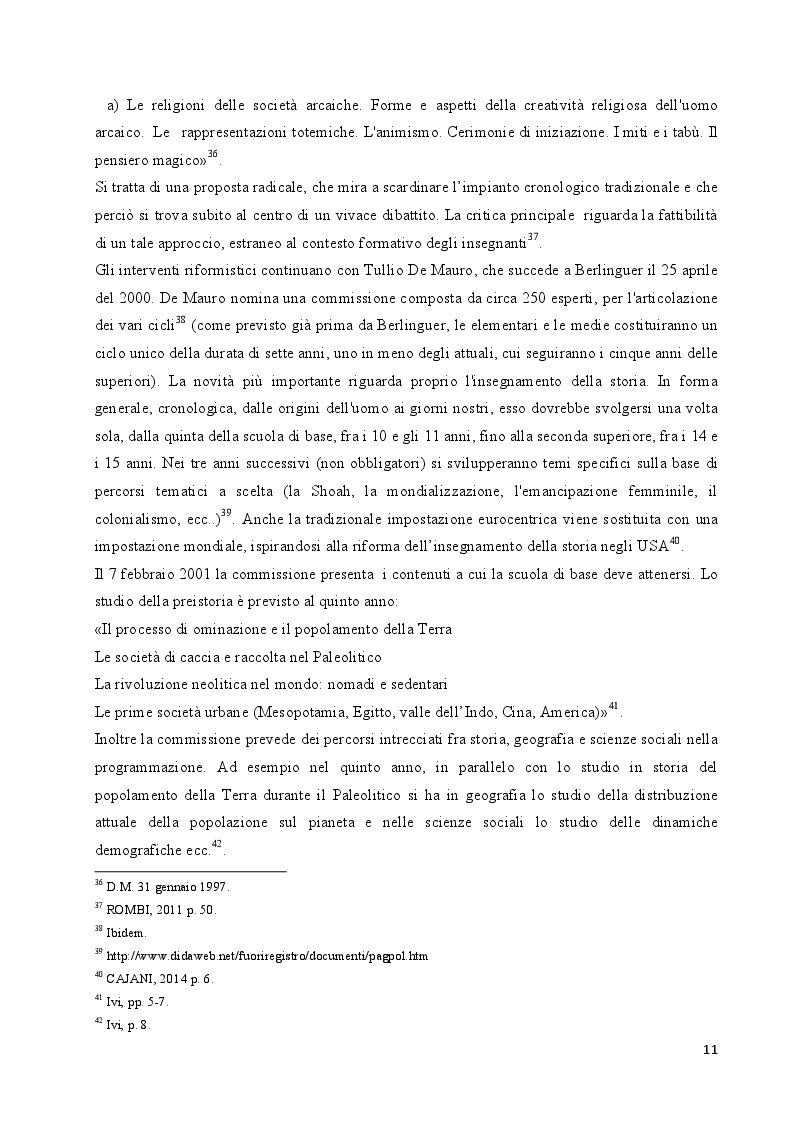 Estratto dalla tesi: L'insegnamento della preistoria nella scuola italiana