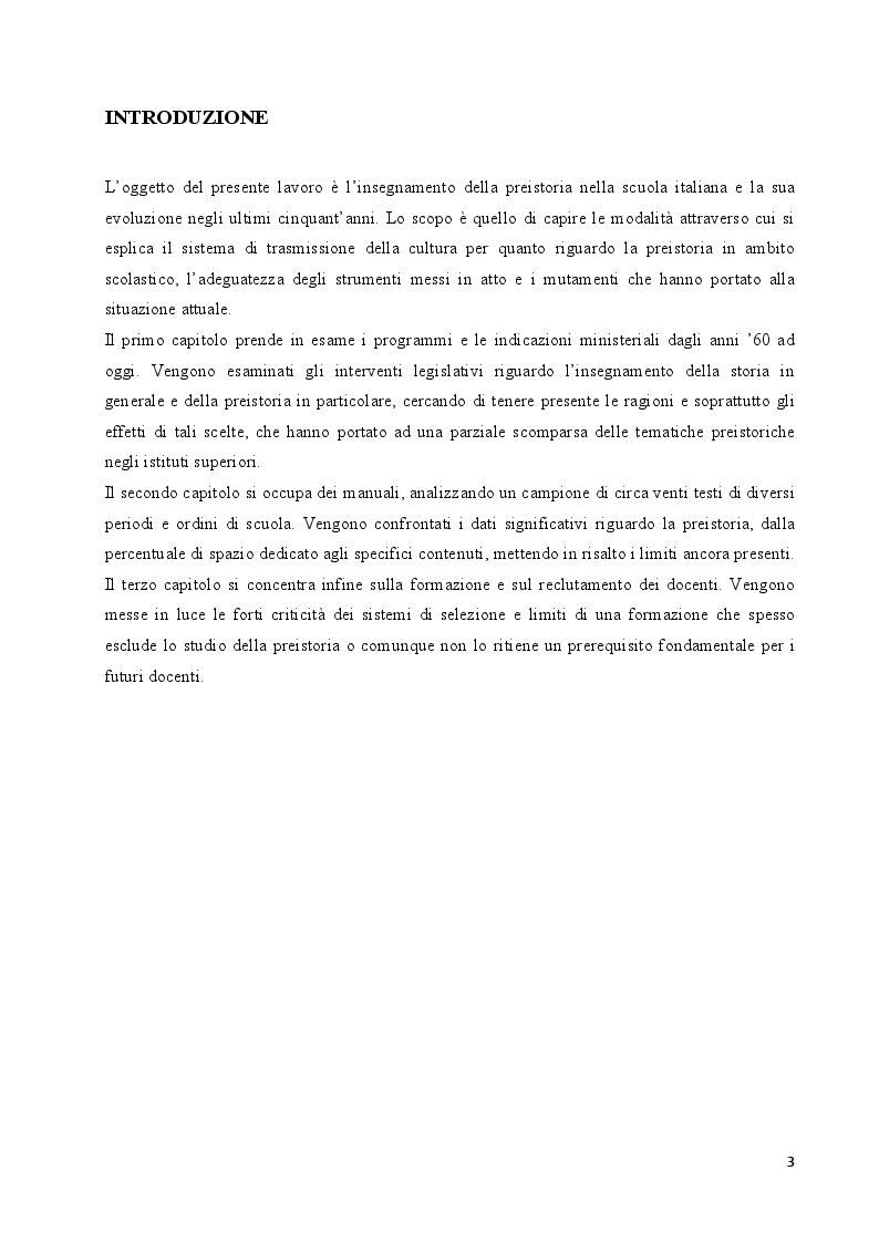 Anteprima della tesi: L'insegnamento della preistoria nella scuola italiana, Pagina 2