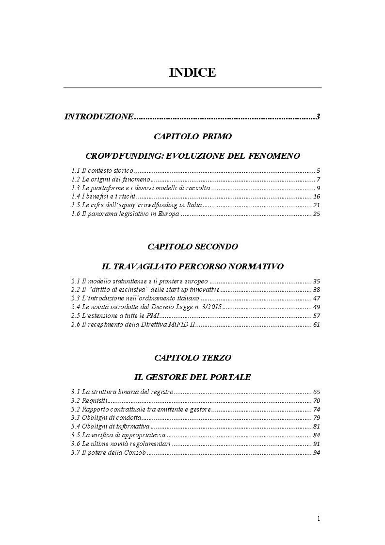 Indice della tesi: L'operazione di Equity Crowdfunding, Pagina 1