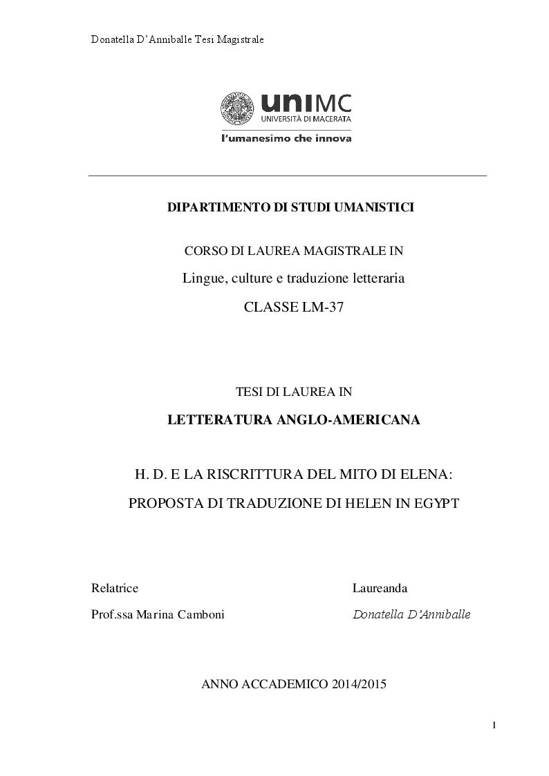 Anteprima della tesi: Hilda Doolittle e la riscrittura del Mito di Elena: Proposta di Traduzione di Helen in Egypt, Pagina 1