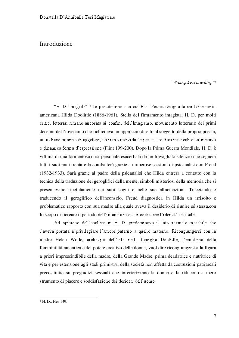 Anteprima della tesi: Hilda Doolittle e la riscrittura del Mito di Elena: Proposta di Traduzione di Helen in Egypt, Pagina 2