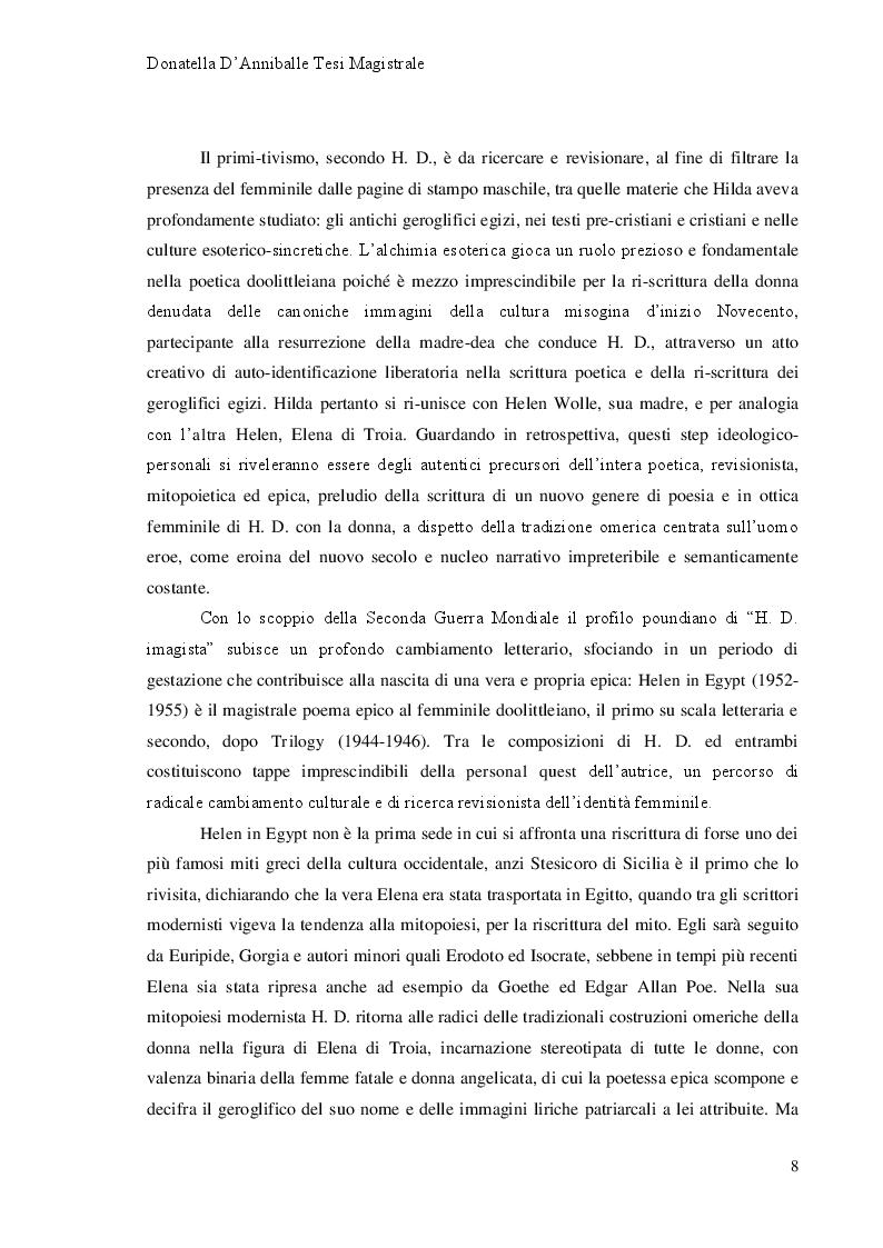 Anteprima della tesi: Hilda Doolittle e la riscrittura del Mito di Elena: Proposta di Traduzione di Helen in Egypt, Pagina 3