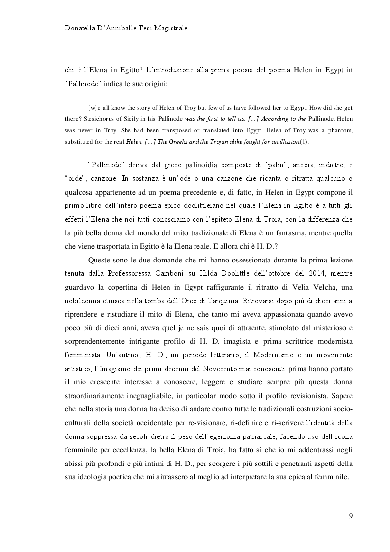 Anteprima della tesi: Hilda Doolittle e la riscrittura del Mito di Elena: Proposta di Traduzione di Helen in Egypt, Pagina 4