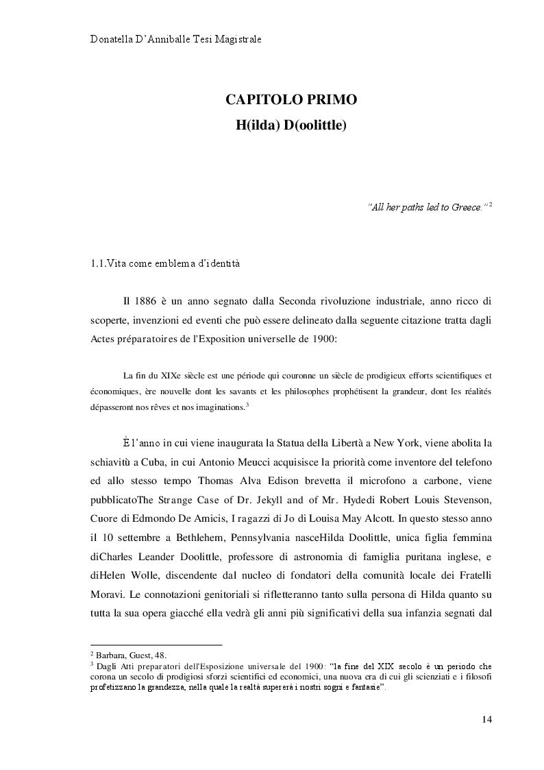 Anteprima della tesi: Hilda Doolittle e la riscrittura del Mito di Elena: Proposta di Traduzione di Helen in Egypt, Pagina 8