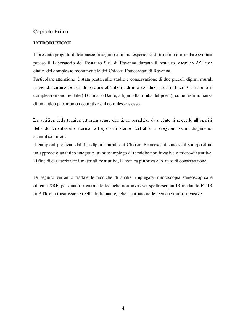 Anteprima della tesi: I dipinti murali dei chiostri francescani: indagini diagnostiche micro-invasive per la caratterizzazione della tecnica pittorica e dello stato di conservazione, Pagina 2